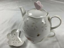 New Lenox Butterfly Meadow Stackable Tea Set Teapot For One With Bag Holder