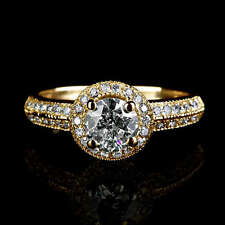 Diamond Solitaire with Accents Yellow Gold 14k Fine Rings