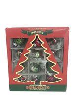 Christopher Radko Presents Shiny Bright Glass Christmas Tree Ornaments in box