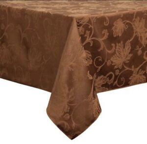 "Autumn Vine Damask Tablecloth 60"" X 120"" Oblong Bronze First Quality!"