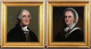 19thC WILLIAM MATTHEW PRIOR Folk Art Reverse Painting George Washington & Martha