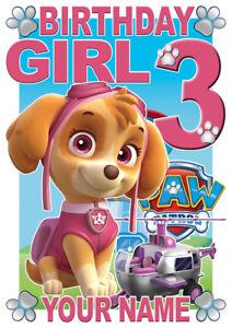 Paw Patrol Birthday Girl Skye Personalised Girls T-Shirt Gift Present