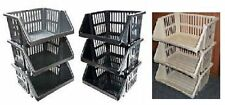 Large 3 Tier Stacking Baskets Storage Veg Rack Plastic Stackers 35cm