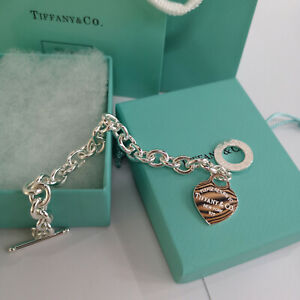Return to Tiffany & Co. Heart Tag Toggle Charm Bracelet 7.5 inch 925 Silver