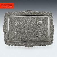 ANTIQUE 19thC INDIAN CUTCH SOLID SILVER SALVER TRAY, OOMERSI MAWJI c.1880