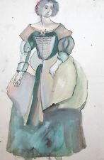 VINTAGE WATERCOLOR PAINTING WOMAN PORTRAIT