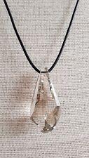 "Ladies Necklace XL Swarovski Diamond Cut Pendant Leather & Silver New 16"" FQli"