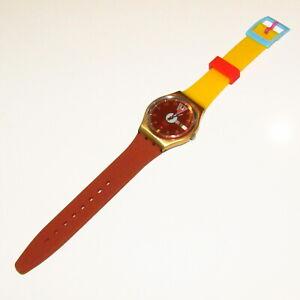 """Vintage SWATCH Watch """"Boca Verde"""" 1989 GX402 STRAP SWAP Yellow Bronze Pink Gold"""