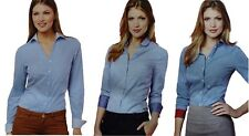Ladies Girls Formal Work Office Regular Fit Shirt Contrast Collar Cuff Cotton
