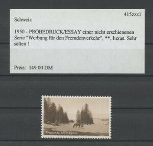 SWITZERLAND SPECIMEN 1950 ESSAY TRIAL TEST PRINT PROOF FRANCHES HORSE /m2094