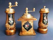 Vintage Florentine Gilt Wood Set Italian Pepper & Coffee Grinder w' Salt Shaker