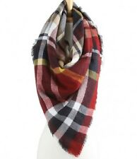 Red and Multi Colored Plaid Oversized Scarf