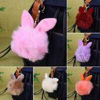 Rabbit Fur Fluffy Pompom Ball Handbag Car Pendant Charm Key Chain Keyrings 10 cm