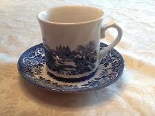 Willow Scalloped Cup And Saucer Blue And White Made In England