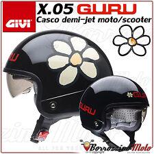 CASCO DEMI JET GIVI X.05 X05 GURU NERO LUCIDO PER MOTO SCOOTER TG. M M1 57 cm