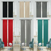 NEW Thermal Pencil Pleat Blackout Curtains PAIR of Ready Made Thermal Tape Top