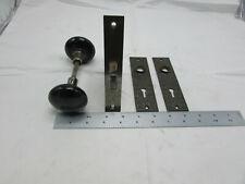 Vtg Antique Cast Iron Porcelain Door Lock Set Mortise Blw Branford Back Plates