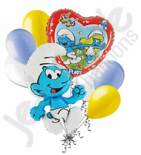 8 pc Cartoon Clumsy Smurf Family Balloon Bouquet Happy Birthday Party Decoration