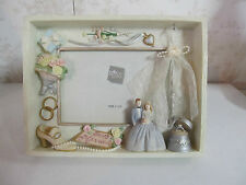 """Russ HandPainted 4""""x6"""" """"Just Married"""" Wedding Picture Frame"""