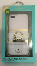 Kate Spade Phone Case 4 iPhone 8/7/6s/6 Plus White/Gold Stripes+Kickstand Ring
