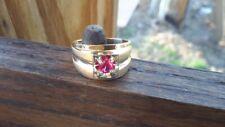 VINTAGE ESTATE 14K GOLD PINK SAPPHIRE ART DECO MEN'S RING