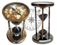 Marine Antique Brass Compass Hourglass Nautical Maritime Old Sand Clock Timer