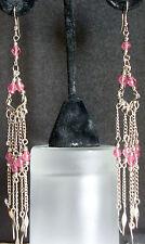 Earrings Unique Handmade Long Drop Rose Pink Coral Blush Dangle Chandelier
