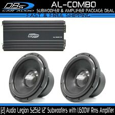"2 Audio Legion S2512 12"" Car Bass Subwoofer + 1600 Watts Rms Sub 1 ohm Amplifier"