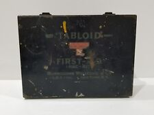 Vintage Tabloid First Aid Pack Kit 1940s Metal Box Kit with Some contents