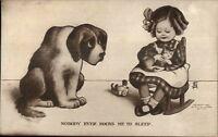 Little Girl Holds Kitten in Rocking Chair - Sad Dog c1910 Postcard