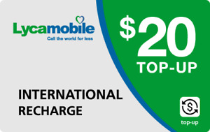 Lyca Mobile  Prepaid $20 Refill Top-Up Prepaid Card ,PIN / RECHARGE