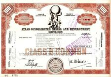 1973 Atlas Consolidated Mining Company Stock Certificate Philippines Brown