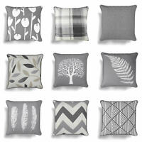 "Grey Cushion Covers Charcoal Silver 17"" / 18"" Cover 43cm / 45cm Cushions"