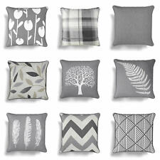 """Grey Cushion Covers Charcoal Silver 17"""" / 18"""" Cover 43cm / 45cm Cushions"""
