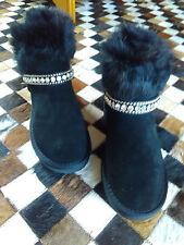 Boots Stiefel Stiefeletten Pelz Echtleder leder Wildleder STrass schwarz Gr. 37