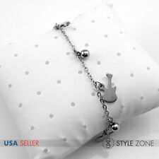 Women's Stainless Steel Guitar Ball Bead Charm o Link Chain Bracelet Silver B77