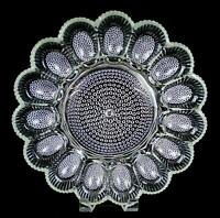 """INDIANA GLASS THOUSAND EYE HOBNAIL CLEAR 15 SLOT 11 1/4"""" DEVILED EGG PLATE 1940s"""