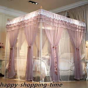 double layers mosquito net bed curtain netting with frames embroidered craft new