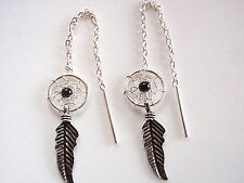 Small Black Onyx Dream Catcher Threader Earrings Feather 925 Sterling Silver