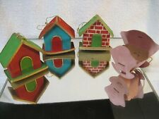Vintage Cardboard Village Houses And Baby Carriage Xmas Ornaments Japan
