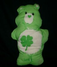 "12"" VINTAGE CARE BEAR GREEN GOOD LUCK STUFFED ANIMAL PLUSH TOY PILLOW FABRIC SEW"