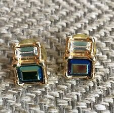 Swarovski Earrings Blue Rhinestones Gold Studs Square Excellent Condition
