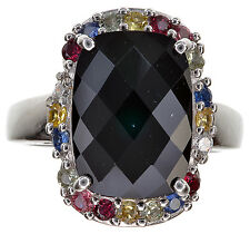 Onyx Ring with Multi Gemstones & 0.50 Ct tw Sapphire Sterling Silver Ring Size 6