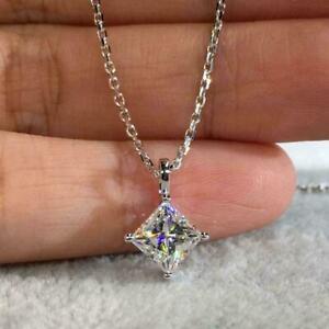 "2Ct Princess Cut Moissanite Solitaire Pendant 14K White Gold Over 18"" Free Chain"