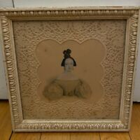Set of 2 Victorian Portrait Paintings Ladies Framed Lace Mat Antique 19th C