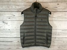 Polo Ralph Lauren Mens Gray Down Puffer Vest Jacket Pony Logo Medium NWT