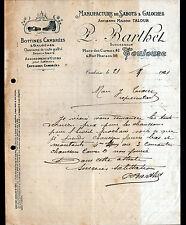 """TOULOUSE (31) USINE de SABOTS GALOCHES BOTTINES """"TALOUR / P. BARTHET"""" en 1921"""
