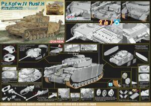 Dragon WW2 German tank PZKPFW IV AUSF H LATE PRODUCTION W/ZIMMERIT (2 IN 1) 1/35