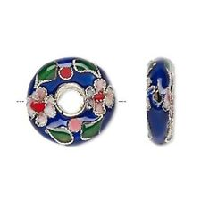 4 Gold Plated Cobalt Blue Donut Cloisonne Beads / 20mm