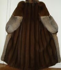 "Stunning 50"" Long Mahogany Mink & Crystal Fox Fur Coat Size 4-6 Free Ship"